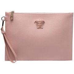 Versace Pink Leather Medusa Clutch