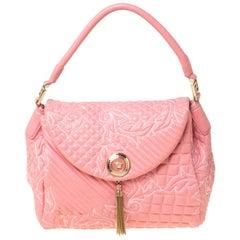 Versace Pink Leather Talia Vanitas Shoulder Bag