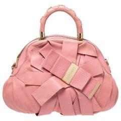 Versace Pink Leather Venita Bow Satchel