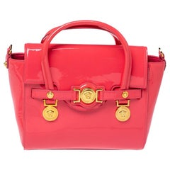 Versace Pink Patent Leather Medusa Medallion Tote