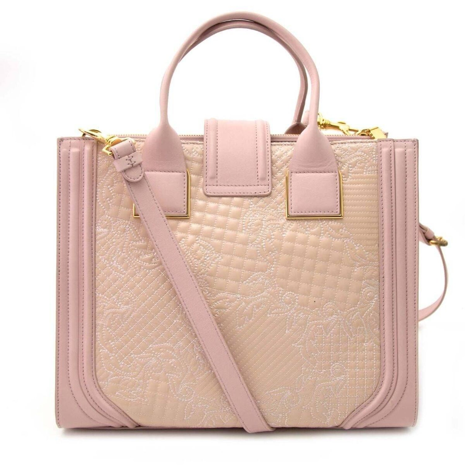 de0dc084bc Versace Pink Powder Icon Quilted And Patent Leather Bag at 1stdibs