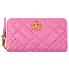 Versace Pink Quilted Icon Zip Around Leather Wallet w/ Gold Tone Medusa Hardware