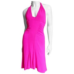 Versace Pink Silk Buckle Back Halter Dress