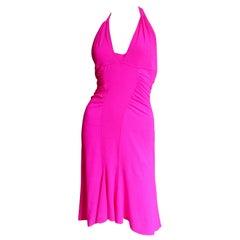 Versace Pink Silk Buckle Back Halter Dress