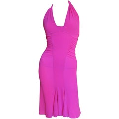 Versace Pink Silk Halter Dress