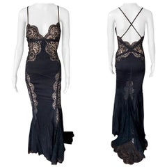 Versace Plunged Sheer Lace Panels Backless Black Evening Dress Gown