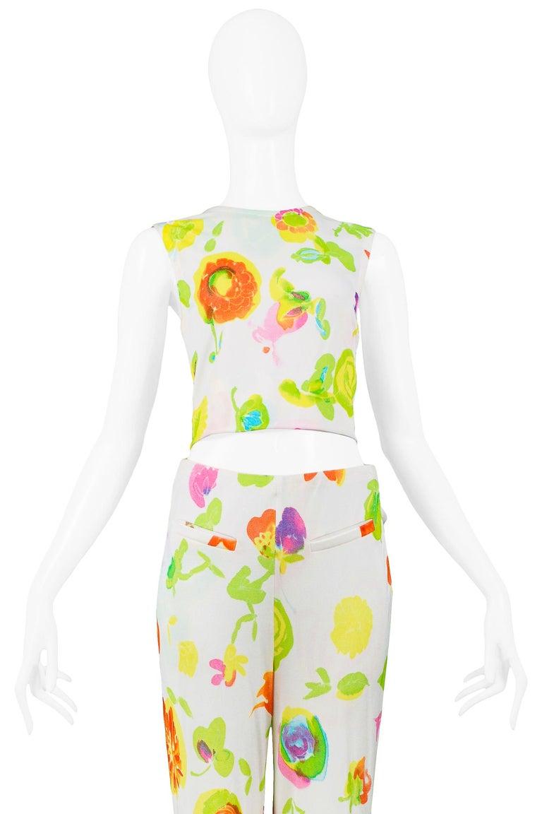 Versace 'Pop Art' Floral Crop Top & Hip Hugger Pants Runway Ensemble 1996 In Excellent Condition For Sale In Los Angeles, CA