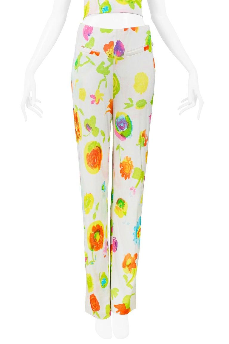 Versace 'Pop Art' Floral Crop Top & Hip Hugger Pants Runway Ensemble 1996 For Sale 1