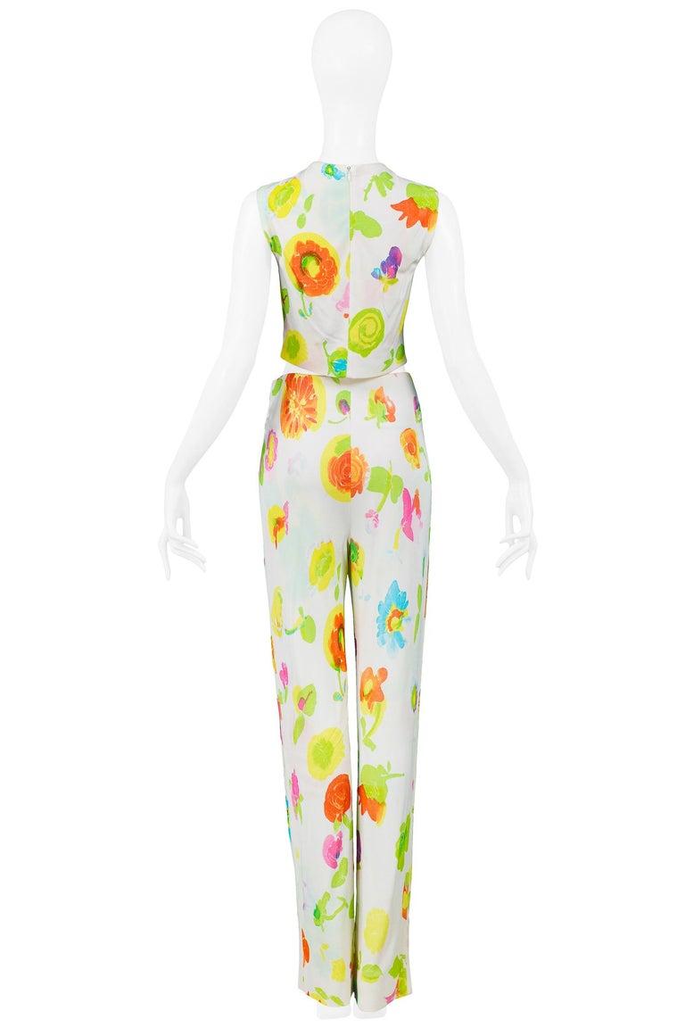 Versace 'Pop Art' Floral Crop Top & Hip Hugger Pants Runway Ensemble 1996 For Sale 2