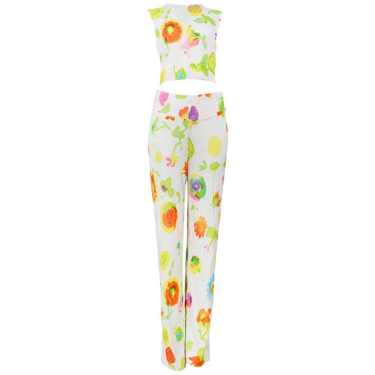 Versace 'Pop Art' Floral Crop Top & Hip Hugger Pants Runway Ensemble 1996 For Sale