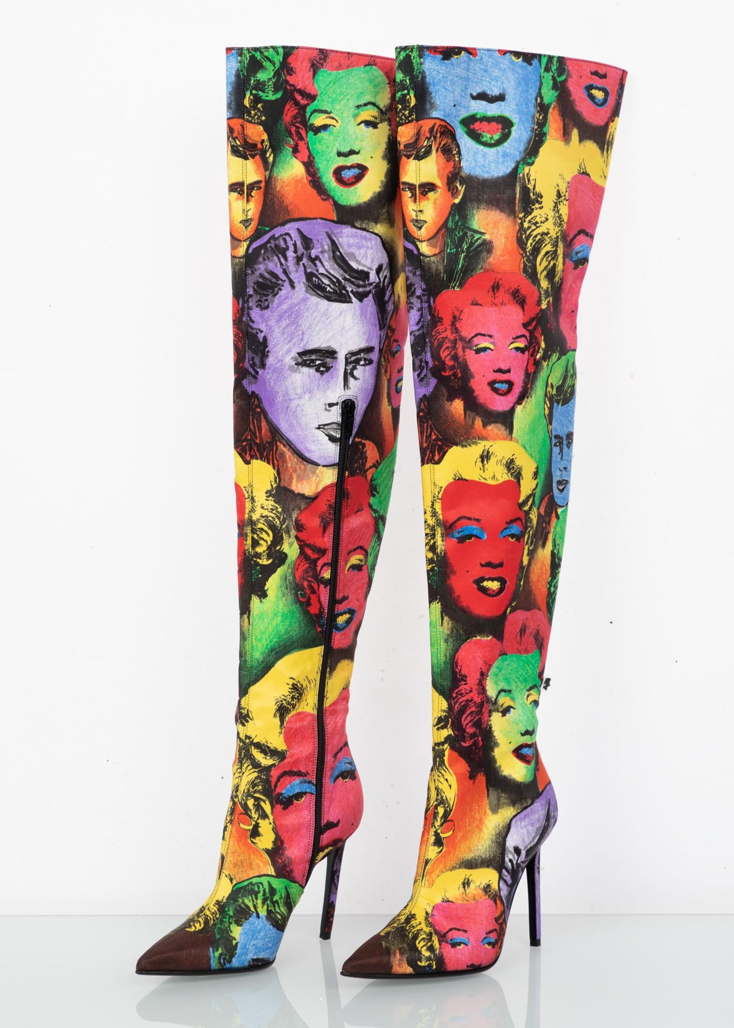 ee69d198fb0 Versace Pop Art Tribute Andy Warhol Print Silk Over The Knee Boots Size 36  6 For Sale at 1stdibs
