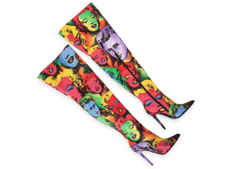 Pink Versace Pop Art Tribute Andy Warhol Print Silk Over The Knee Boots Size 36 6 For Sale