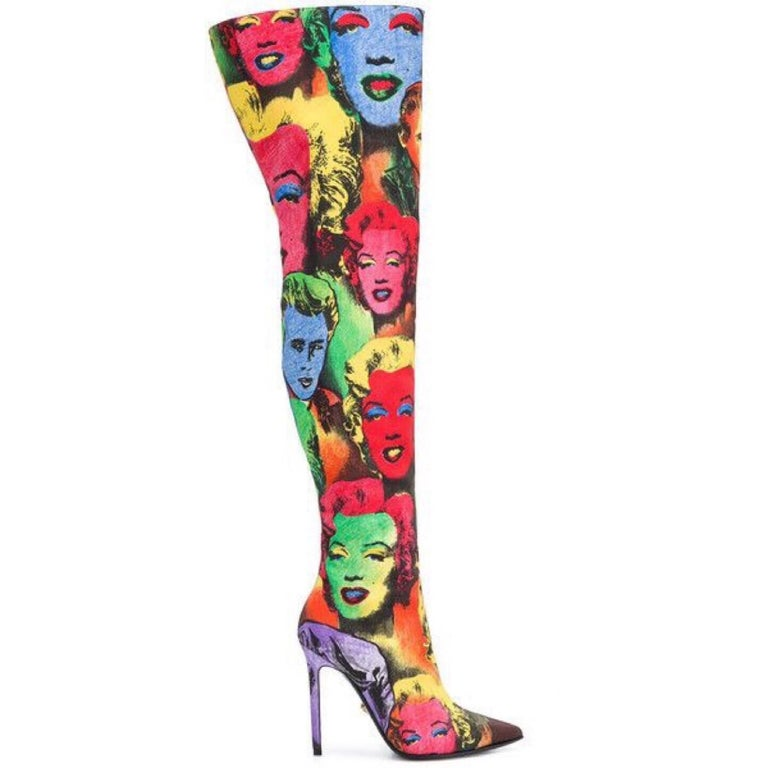 b9d89024091 Versace Pop Art Tribute Andy Warhol Print Silk Over The Knee Boots Size 36  6 For