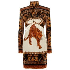 Versace Printed Velvet Turtleneck Mini Dress