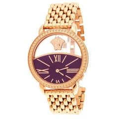 Versace Purple Gold Plated Stainless Steel Krios 93Q Women's Wristwatch 38 mm