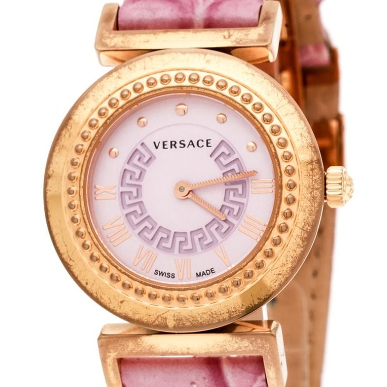 Contemporary Versace Purple Gold Tone Stainless Steel Vanity P5Q Women's Wristwatch 35 mm For Sale