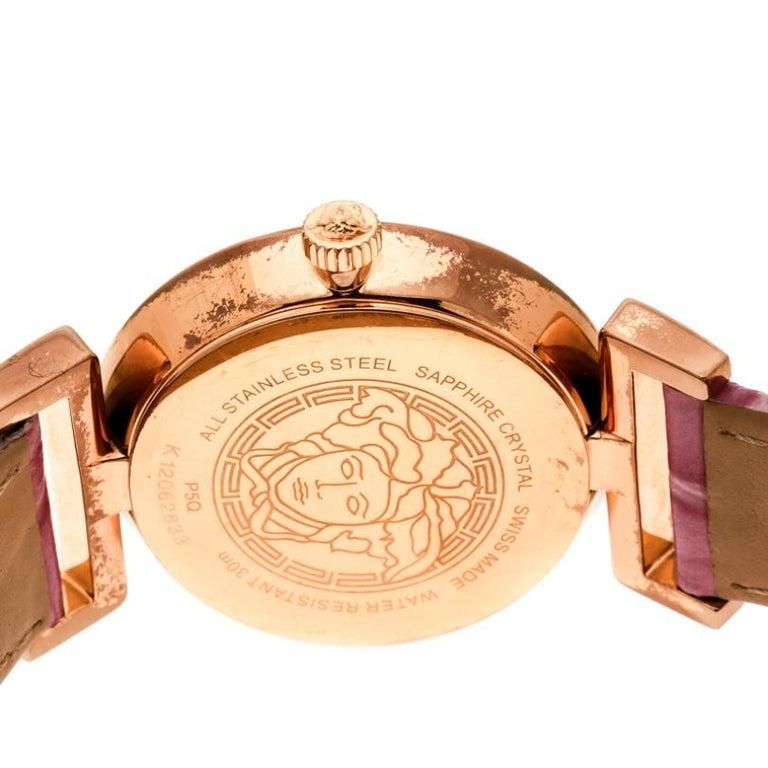 Versace Purple Gold Tone Stainless Steel Vanity P5Q Women's Wristwatch 35 mm In Fair Condition For Sale In Dubai, Al Qouz 2