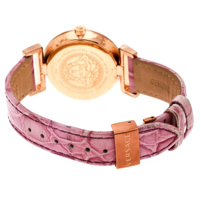 Versace Purple Gold Tone Stainless Steel Vanity P5Q Women's Wristwatch 35 mm For Sale 1