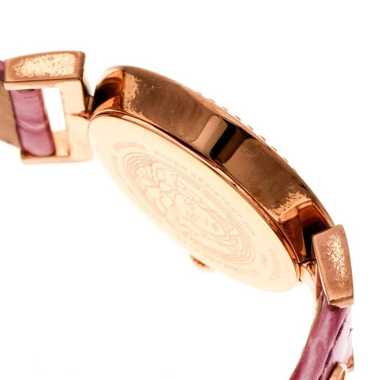Versace Purple Gold Tone Stainless Steel Vanity P5Q Women's Wristwatch 35 mm For Sale 2