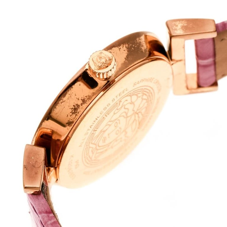 Versace Purple Gold Tone Stainless Steel Vanity P5Q Women's Wristwatch 35 mm For Sale 3