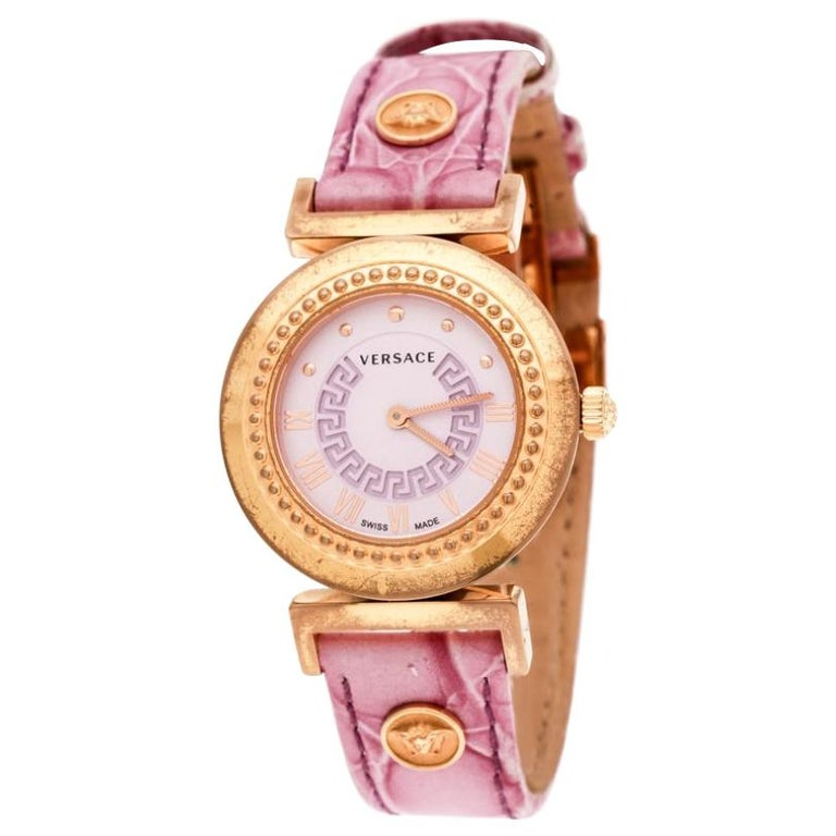 Versace Purple Gold Tone Stainless Steel Vanity P5Q Women's Wristwatch 35 mm For Sale