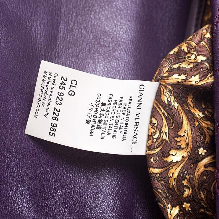 Versace Purple Leather Studded Tassel Vanitas Medea Shoulder Bag For Sale 6