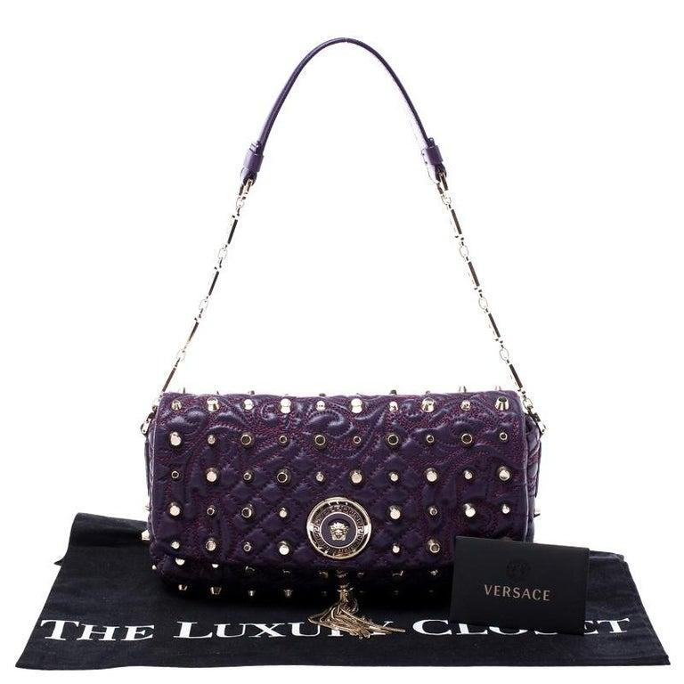 Versace Purple Leather Studded Tassel Vanitas Medea Shoulder Bag For Sale 7