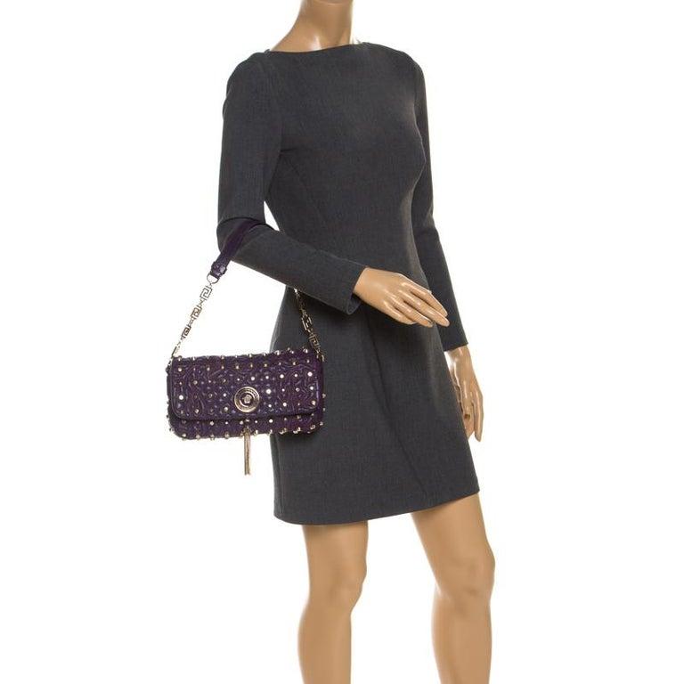 Versace Purple Leather Studded Tassel Vanitas Medea Shoulder Bag In Good Condition For Sale In Dubai, Al Qouz 2