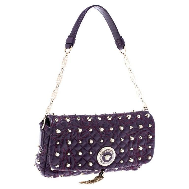 Women's Versace Purple Leather Studded Tassel Vanitas Medea Shoulder Bag For Sale