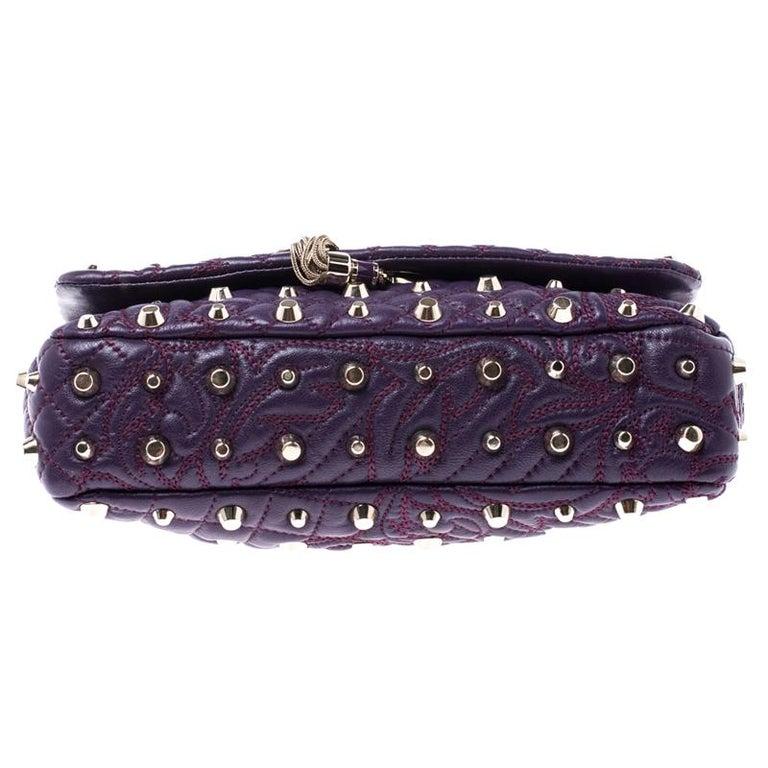 Versace Purple Leather Studded Tassel Vanitas Medea Shoulder Bag For Sale 1