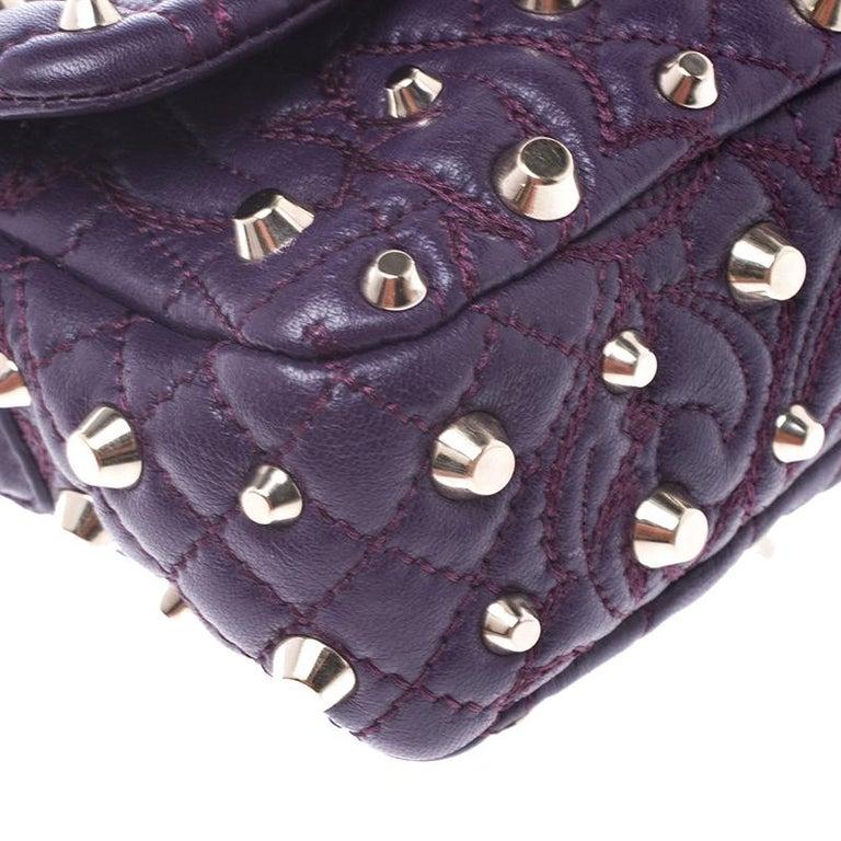 Versace Purple Leather Studded Tassel Vanitas Medea Shoulder Bag For Sale 2