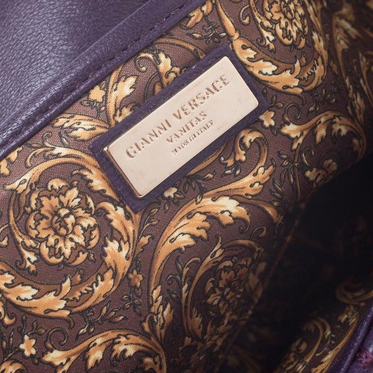 Versace Purple Leather Studded Tassel Vanitas Medea Shoulder Bag For Sale 4