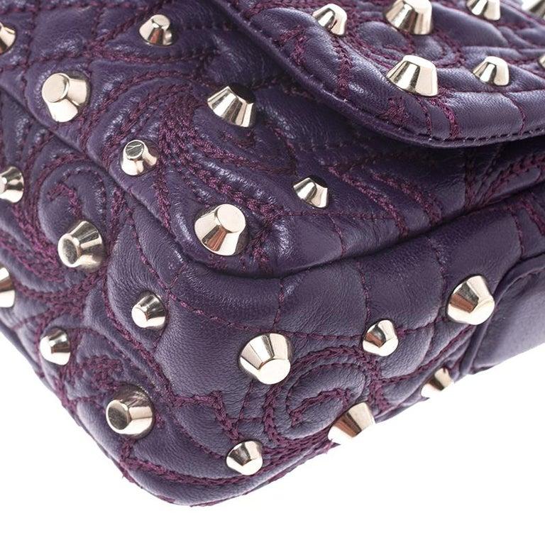 Versace Purple Leather Studded Tassel Vanitas Medea Shoulder Bag For Sale 5