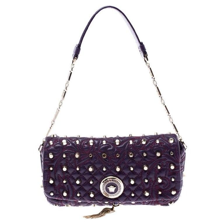Versace Purple Leather Studded Tassel Vanitas Medea Shoulder Bag For Sale