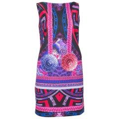 Versace Purple Medusa Print Jersey Shift Dress S
