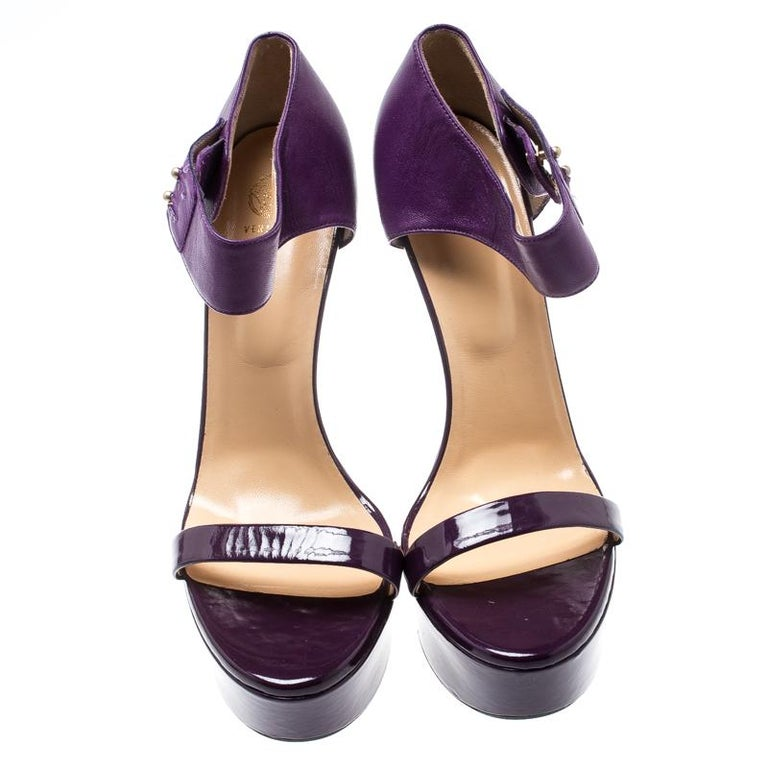 Black Versace Purple Patent Leather And Leather Ankle Strap Platform Sandals Size 40