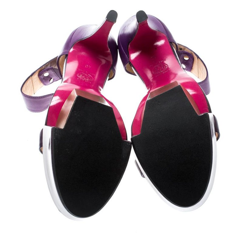 Women's Versace Purple Patent Leather And Leather Ankle Strap Platform Sandals Size 40