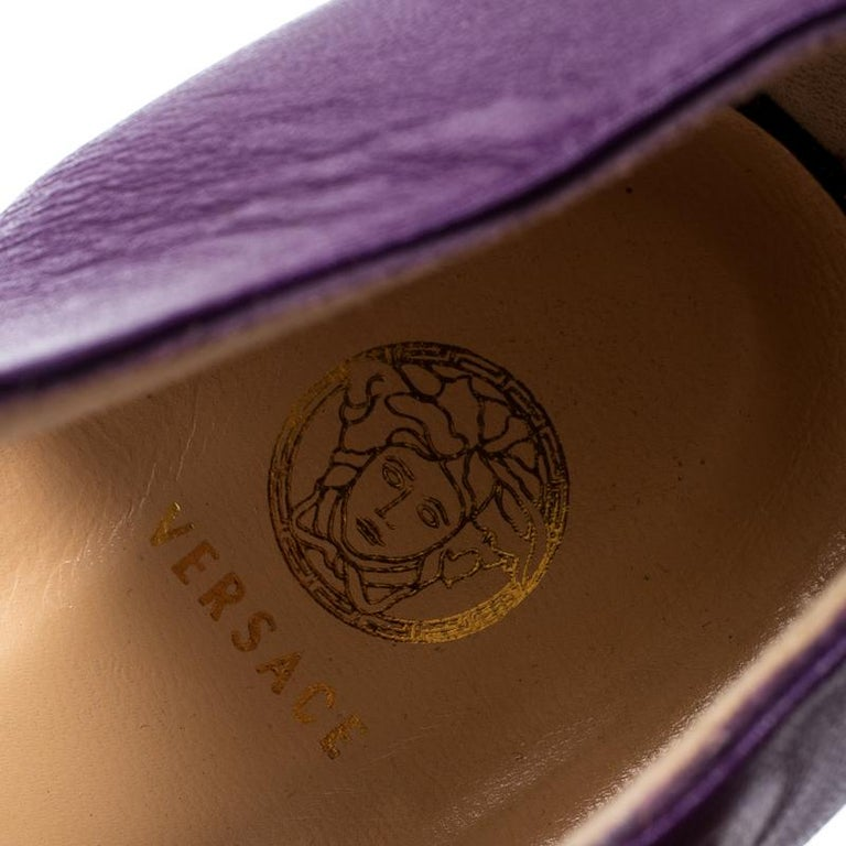 Versace Purple Patent Leather And Leather Ankle Strap Platform Sandals Size 40 1