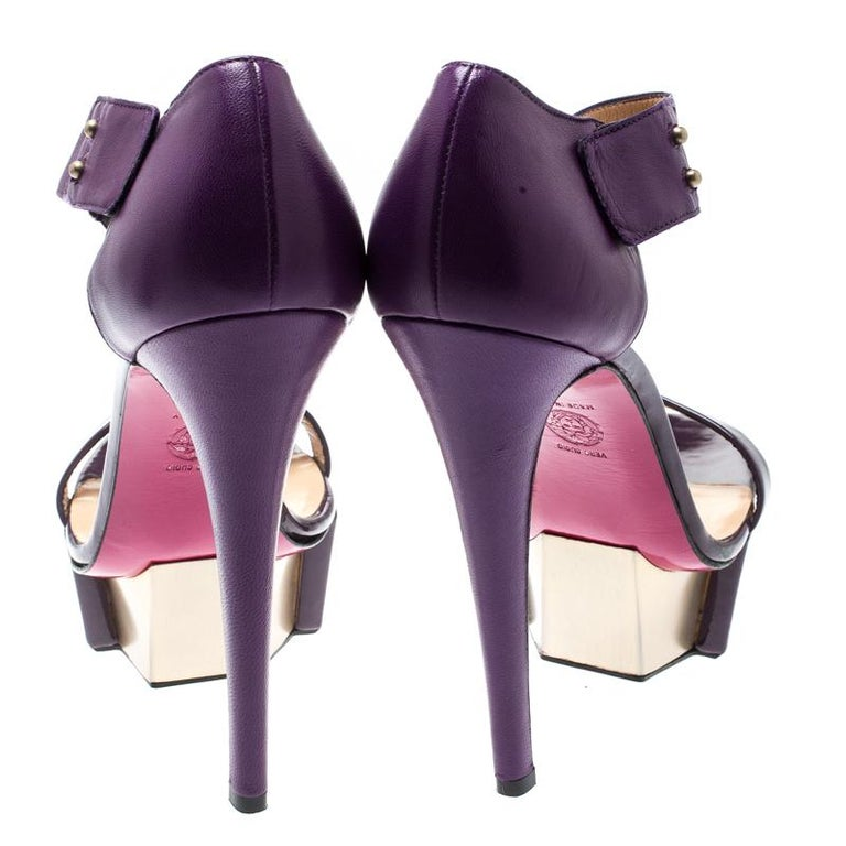 Versace Purple Patent Leather And Leather Ankle Strap Platform Sandals Size 40 2