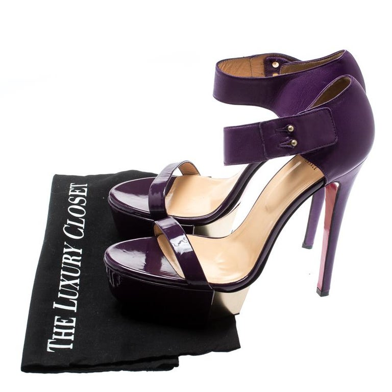 Versace Purple Patent Leather And Leather Ankle Strap Platform Sandals Size 40 3