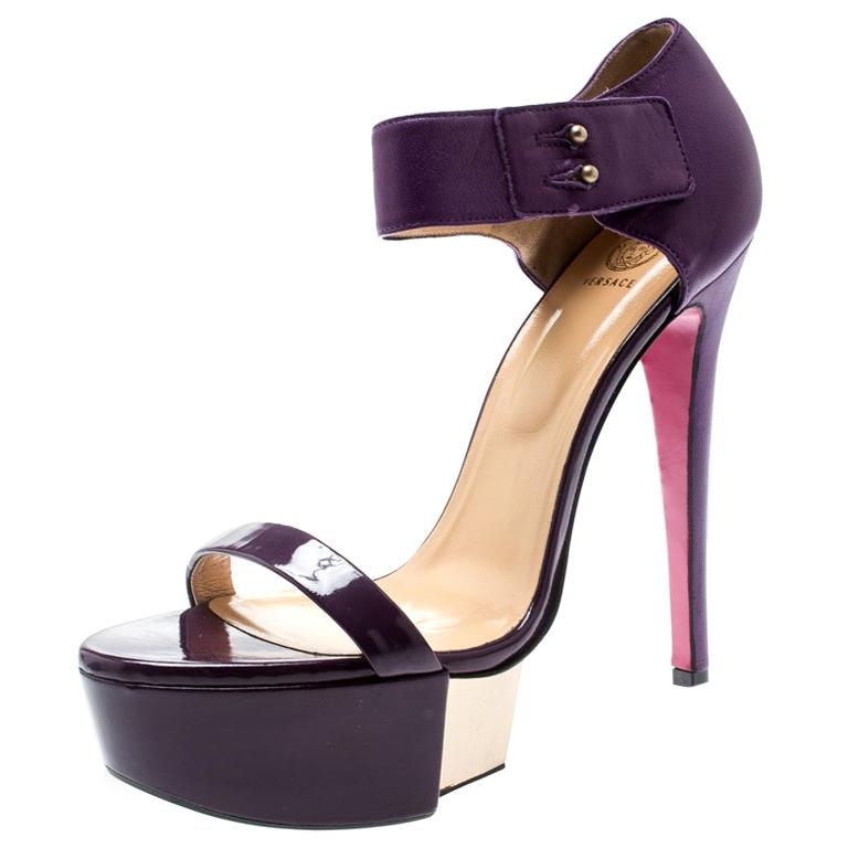 Versace Purple Patent Leather And Leather Ankle Strap Platform Sandals Size 40