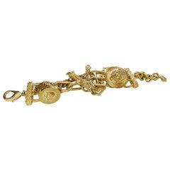 Versace Rare Gold Tone Charm Bracelet