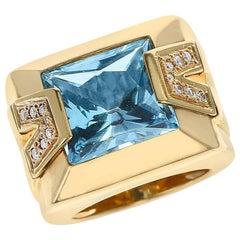 Versace Rectangular Blue Topaz and Diamond Cocktail Ring, 18K Yellow Gold