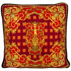 Versace Red and Gold Sculptures Silk Pillow