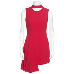 Versace Red Asymmetric Draped Hem Choker Neck Sheath Dress S