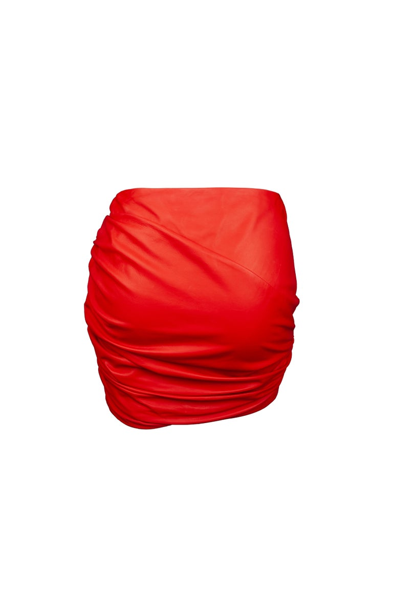 Women's Versace Red Leather Asymmetrical Ruched Mini Skirt Size 40 For Sale