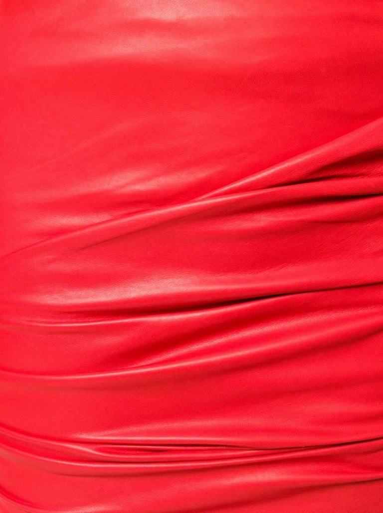 Versace Red Leather Asymmetrical Ruched Mini Skirt Size 40 For Sale 1