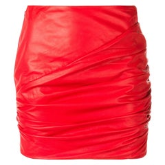 Versace Red Leather Asymmetrical Ruched Mini Skirt Size 40