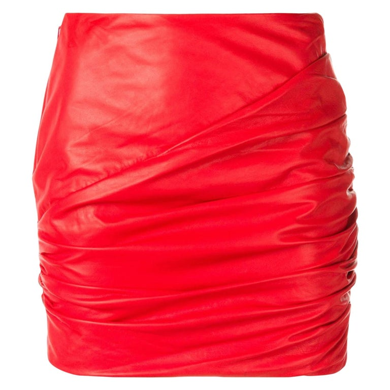 Versace Red Leather Asymmetrical Ruched Mini Skirt Size 40 For Sale