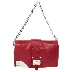 Versace Red Leather Shoulder Bag